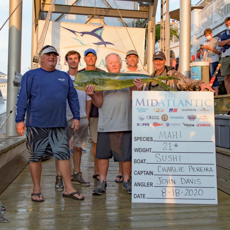 """The """"Sushi"""" weighed in a 21lb Mahi! #MidAtlantic"""