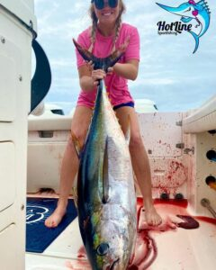 A bit sporty but we got to put Tori on (A bit sporty but we got to put Tori on her first yellowfin today! Lost a nice b…)