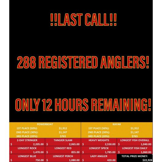 !!REGISTRATION UPDATE!! As of 7am 9/23 we have 288 registered